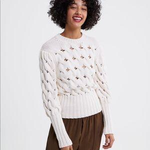 Zara Puff Sleeve Knit Sweater in Ivory